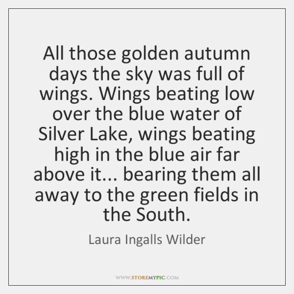 All those golden autumn days the sky was full of wings. Wings ...