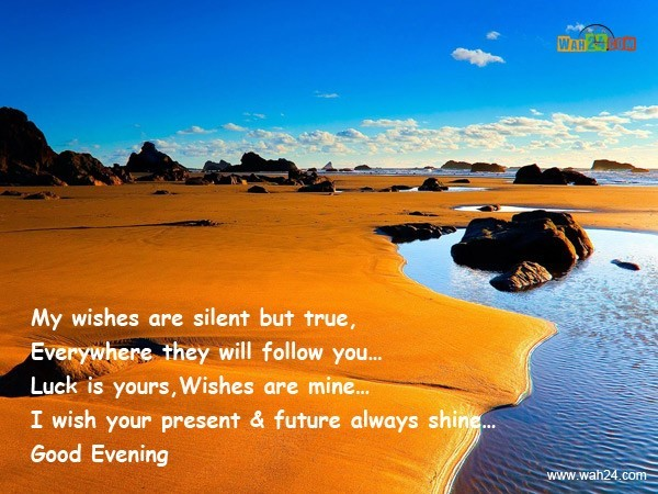 My wishes are silent but true everywhere they will follow you luck is yourse wishes are mine i wish