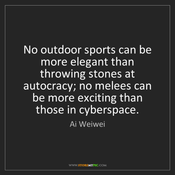 Ai Weiwei: No outdoor sports can be more elegant than throwing stones...