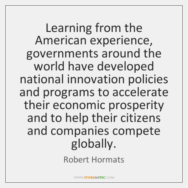 Learning from the American experience, governments around the world have developed national ...