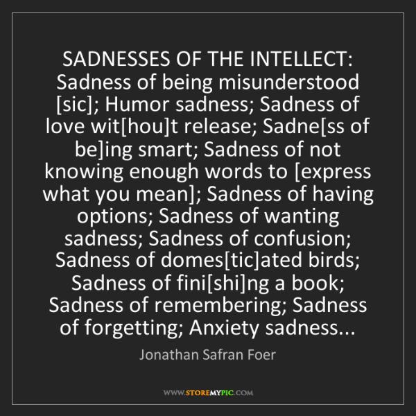 Jonathan Safran Foer: SADNESSES OF THE INTELLECT: Sadness of being misunderstood...