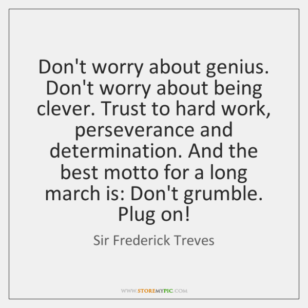Don't worry about genius. Don't worry about being clever. Trust to hard ...