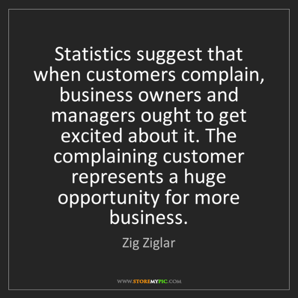Zig Ziglar: Statistics suggest that when customers complain, business...