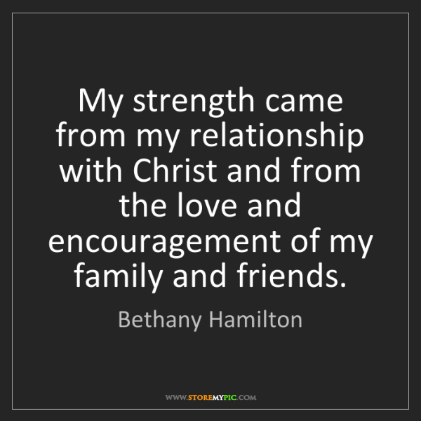 Bethany Hamilton: My strength came from my relationship with Christ and...