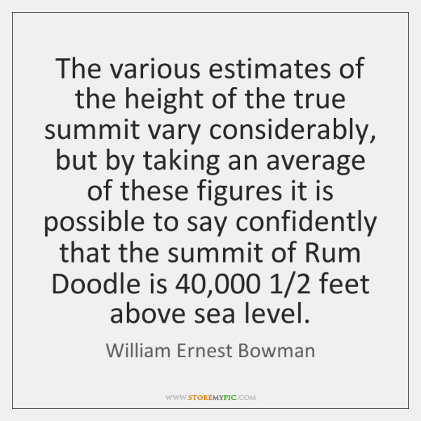 The various estimates of the height of the true summit vary considerably, ...