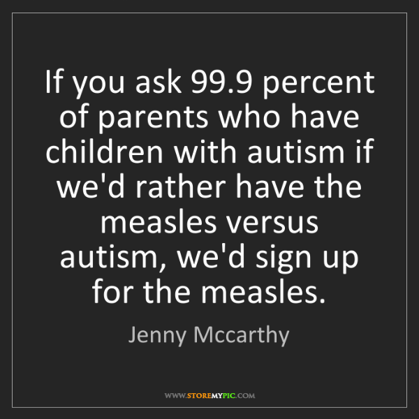 Jenny Mccarthy: If you ask 99.9 percent of parents who have children...