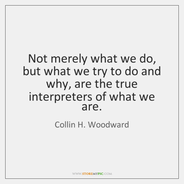 Not merely what we do, but what we try to do and ...