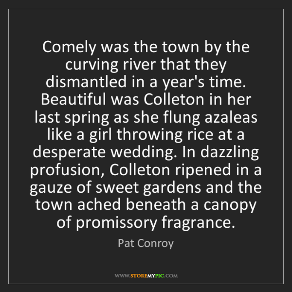 Pat Conroy: Comely was the town by the curving river that they dismantled...