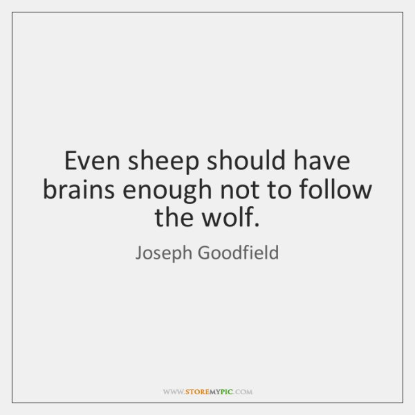 Even sheep should have brains enough not to follow the wolf.