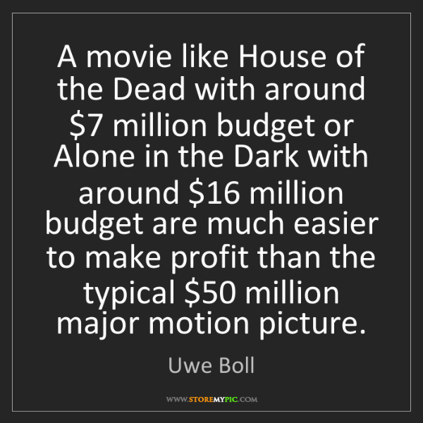 Uwe Boll: A movie like House of the Dead with around $7 million...