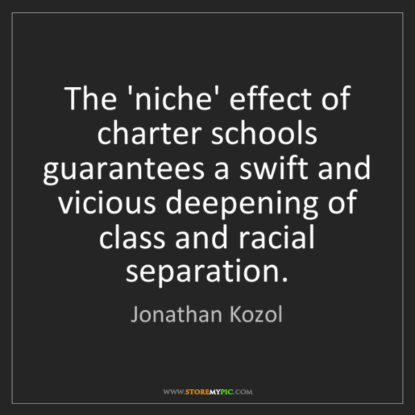 Jonathan Kozol: The 'niche' effect of charter schools guarantees a swift...