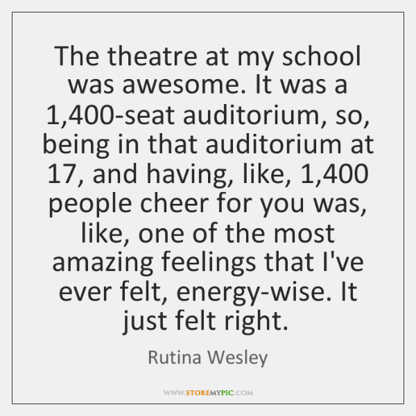 The theatre at my school was awesome. It was a 1,400-seat auditorium, ...