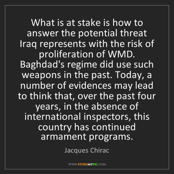 Jacques Chirac: What is at stake is how to answer the potential threat...