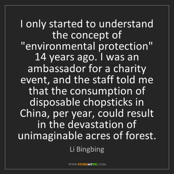 "Li Bingbing: I only started to understand the concept of ""environmental..."