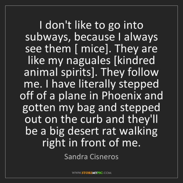 Sandra Cisneros: I don't like to go into subways, because I always see...
