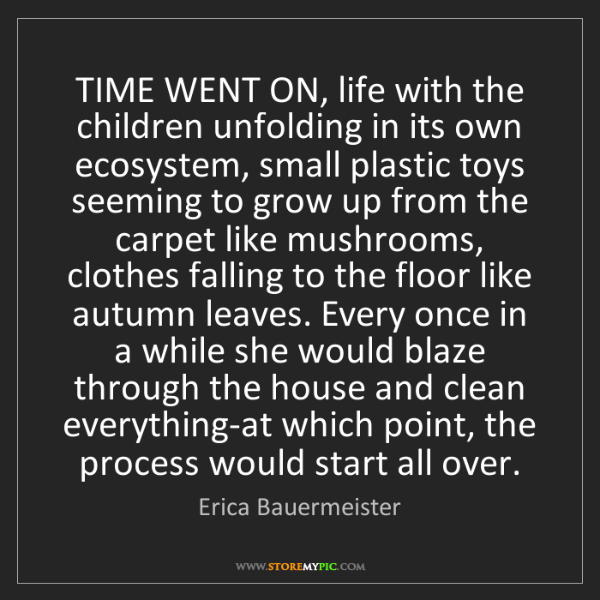 Erica Bauermeister: TIME WENT ON, life with the children unfolding in its...