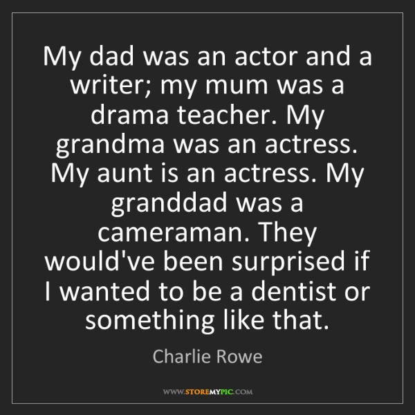 Charlie Rowe: My dad was an actor and a writer; my mum was a drama...