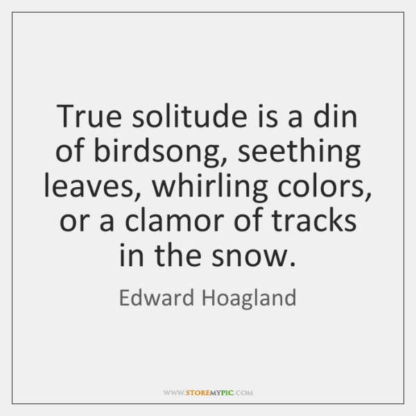 True solitude is a din of birdsong, seething leaves, whirling colors, or ...
