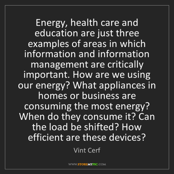 Vint Cerf: Energy, health care and education are just three examples...