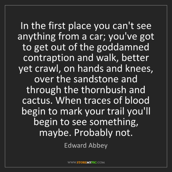 Edward Abbey: In the first place you can't see anything from a car;...