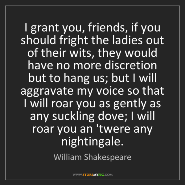 William Shakespeare: I grant you, friends, if you should fright the ladies...