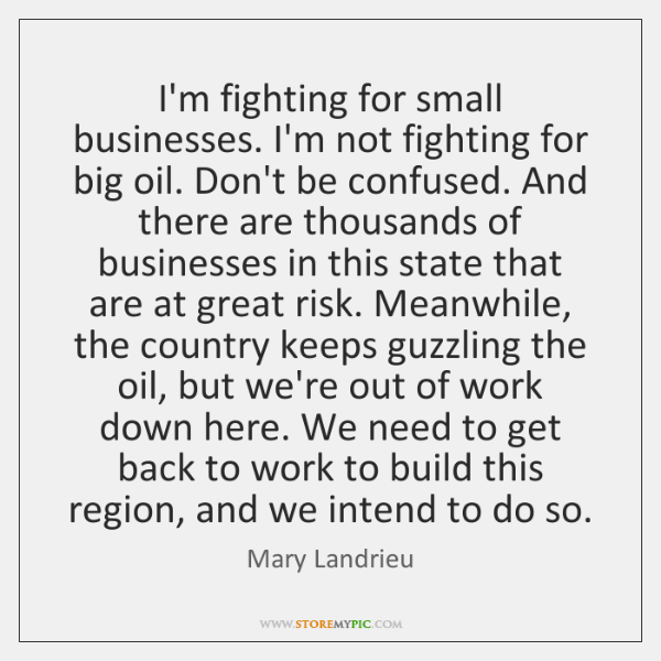 I'm fighting for small businesses. I'm not fighting for big oil. Don't ...
