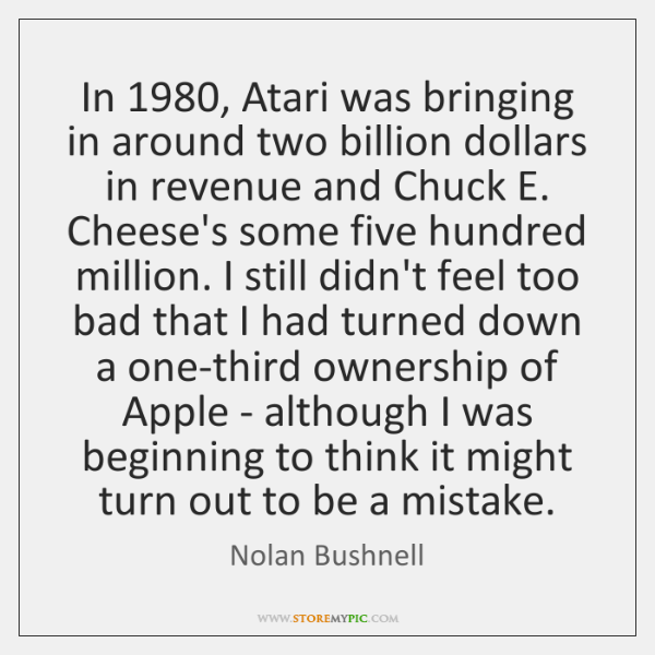 In 1980, Atari was bringing in around two billion dollars in revenue and ...