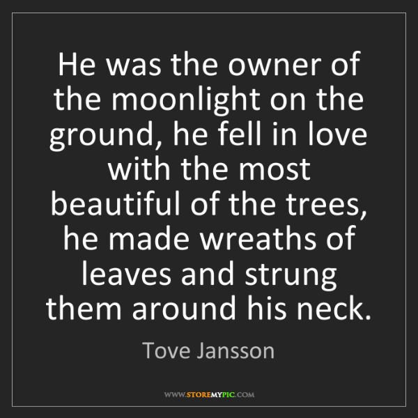 Tove Jansson: He was the owner of the moonlight on the ground, he fell...