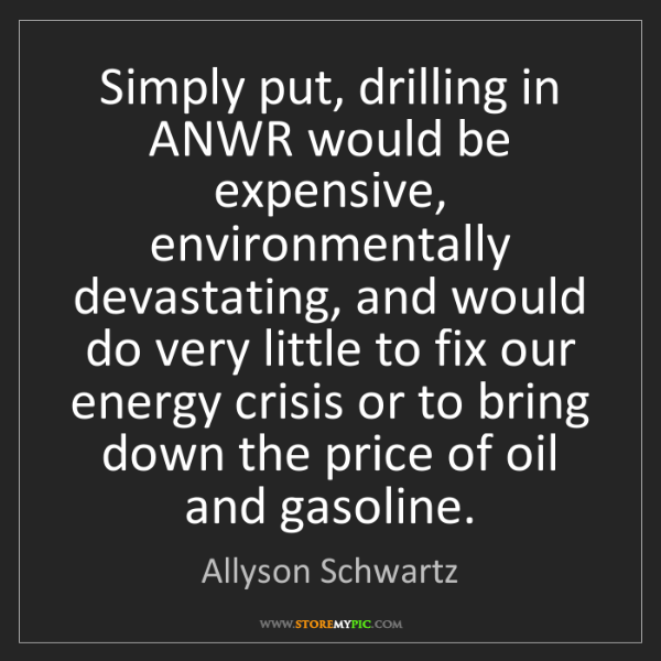 Allyson Schwartz: Simply put, drilling in ANWR would be expensive, environmentally...