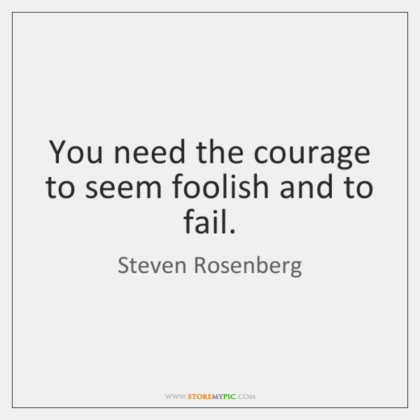 You need the courage to seem foolish and to fail.
