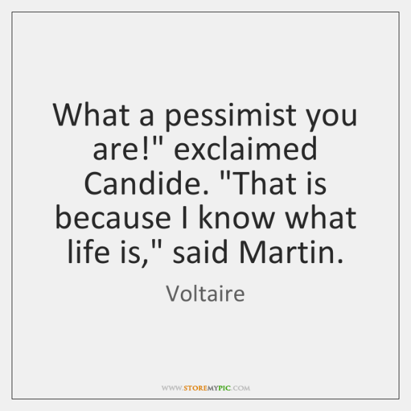 """What a pessimist you are!"""" exclaimed Candide. """"That is because I know ..."""