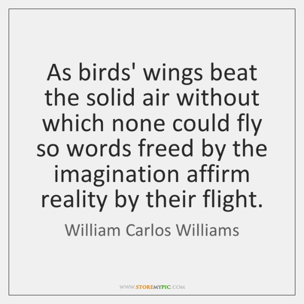 As birds' wings beat the solid air without which none could fly ...