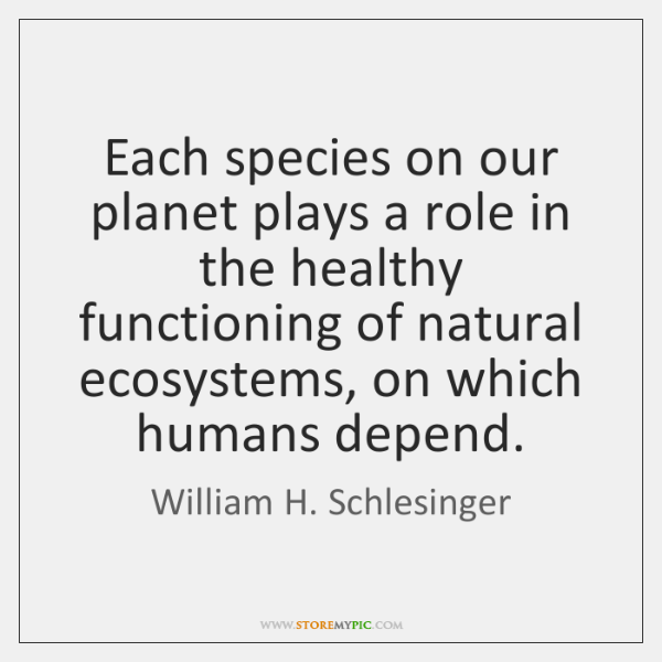 Each species on our planet plays a role in the healthy functioning ...