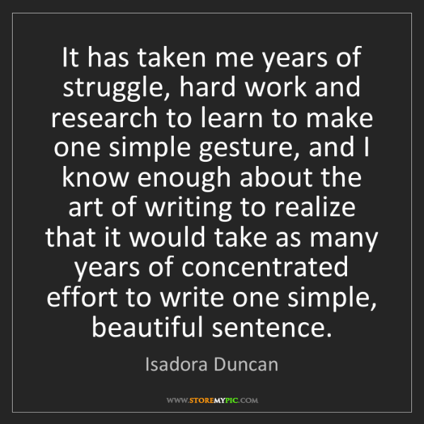 Isadora Duncan: It has taken me years of struggle, hard work and research...