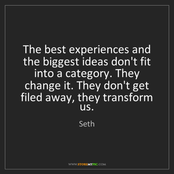 Seth: The best experiences and the biggest ideas don't fit...
