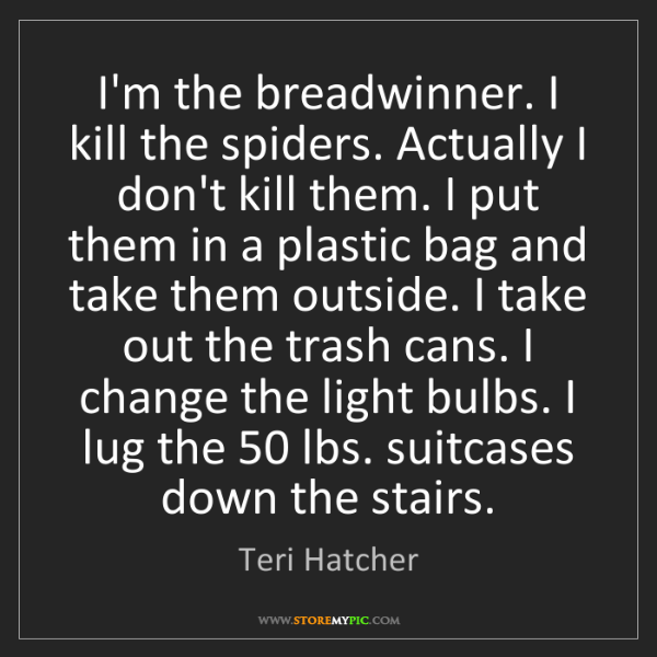 Teri Hatcher: I'm the breadwinner. I kill the spiders. Actually I don't...