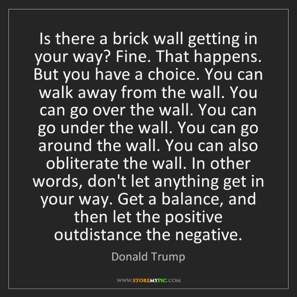 Donald Trump: Is there a brick wall getting in your way? Fine. That...