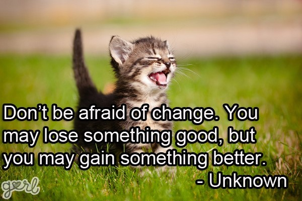 Dont be afraid of change you may lose something good but you may gain something better