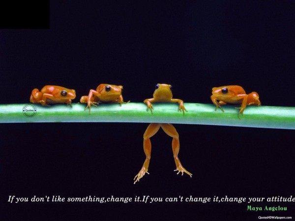 If dont liek something change it if you cant chang it change your attitude