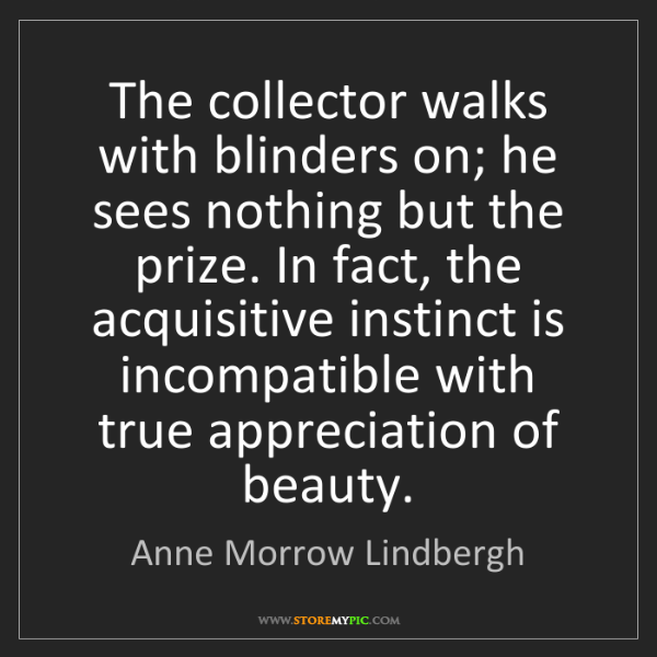 Anne Morrow Lindbergh: The collector walks with blinders on; he sees nothing...