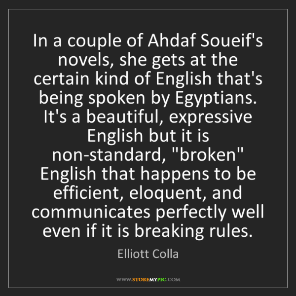 Elliott Colla: In a couple of Ahdaf Soueif's novels, she gets at the...