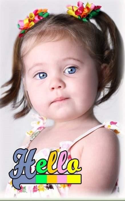 Cute little girl say hello