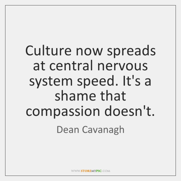 Culture now spreads at central nervous system speed. It's a shame that ...
