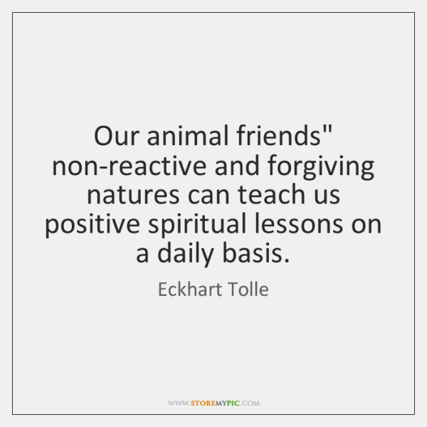 """Our animal friends"""" non-reactive and forgiving natures can teach us positive spiritual ..."""