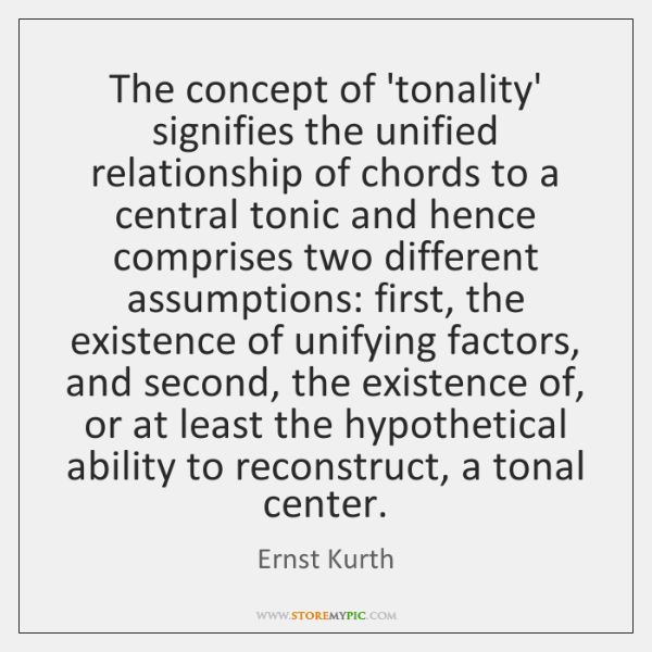 The concept of 'tonality' signifies the unified relationship of chords to a ...