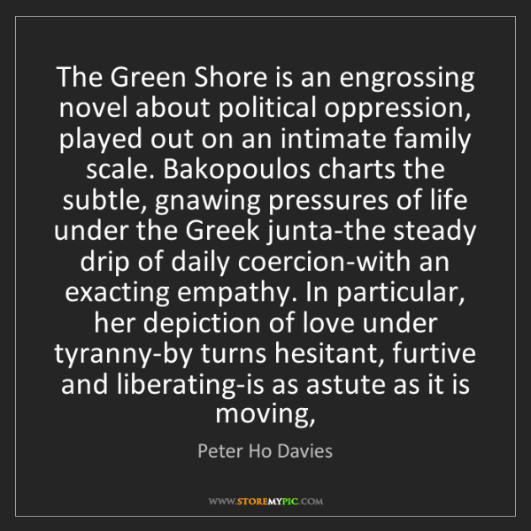 Peter Ho Davies: The Green Shore is an engrossing novel about political...