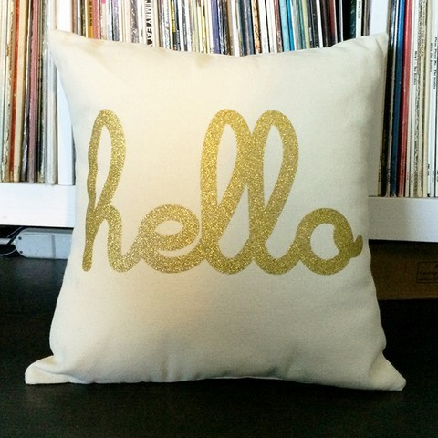 Hello written on pillow