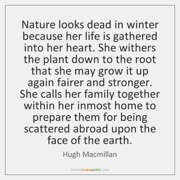 Nature looks dead in winter because her life is gathered into her ...
