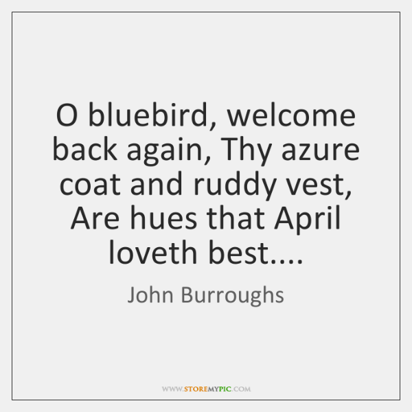 O bluebird, welcome back again, Thy azure coat and ruddy vest, Are ...