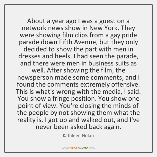 About a year ago I was a guest on a network news ...